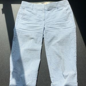 Seersucker cropped JCrew pants